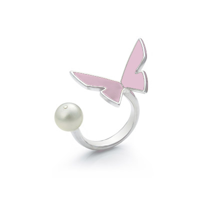 rose papillon ring