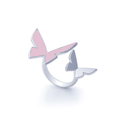 Double Pale Rose Papillon ring